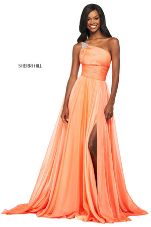 Sherri Hill 53698 prom dress images.  Sherri Hill 53698 is available in these colors: Fuchsia, Dreamcicle, Blue, Green, Yellow.