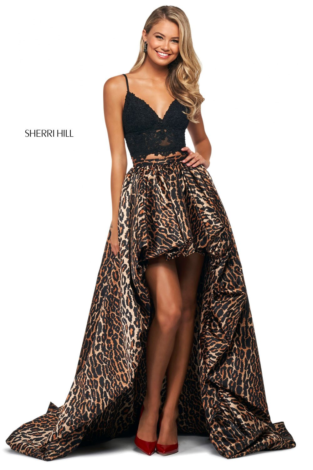 Sherri Hill 53721 prom dress images.  Sherri Hill 53721 is available in these colors: Black Animal.