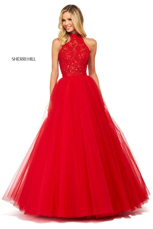 Sherri Hill 53727 prom dress images.  Sherri Hill 53727 is available in these colors: Light Blue, Blush, Red, Ivory, Yellow, Black.