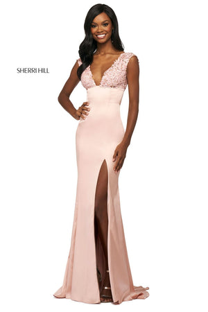 Sherri Hill 53735 prom dress images.  Sherri Hill 53735 is available in these colors: Royal, Black, Red, Navy, Blush, Ruby.