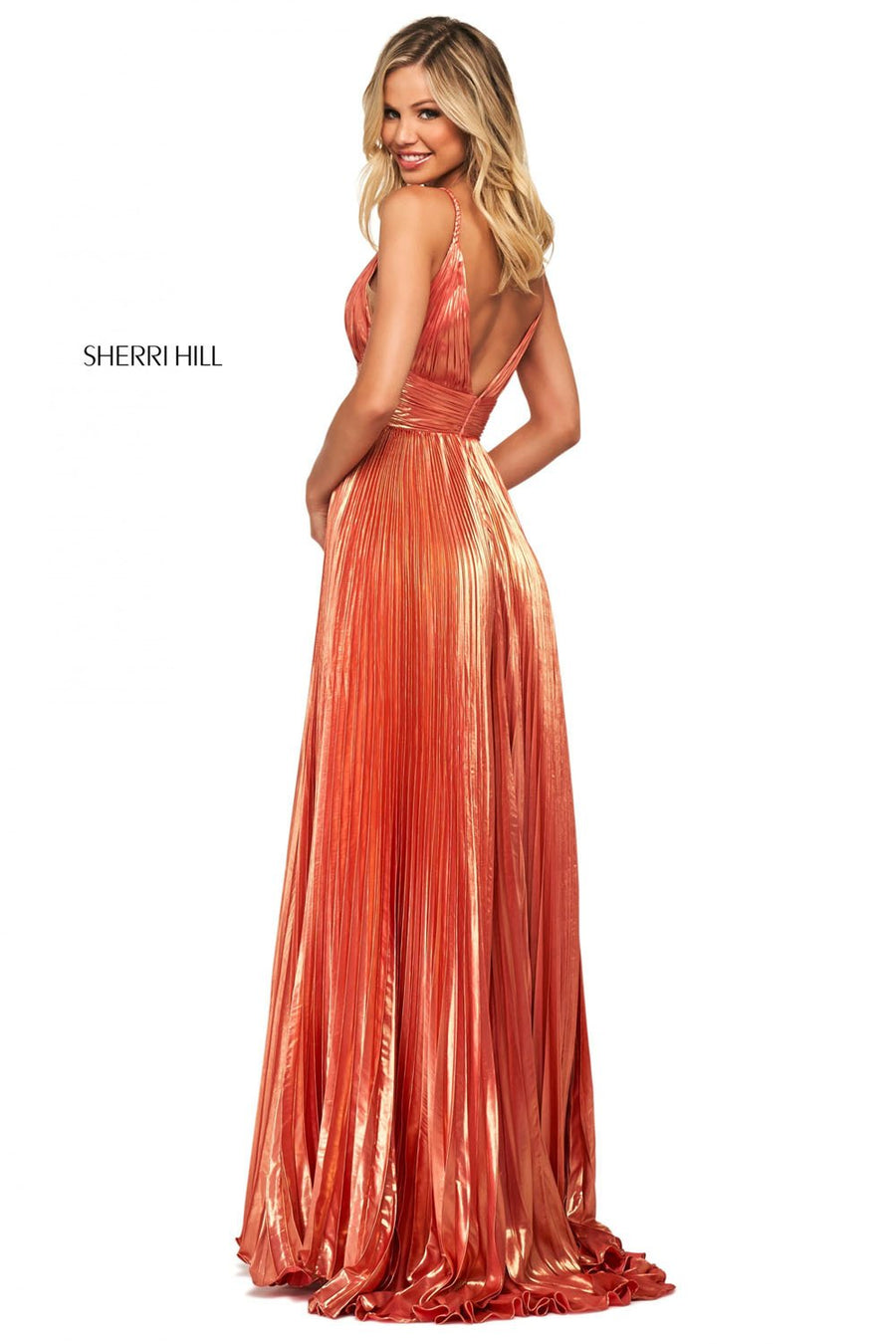 Sherri Hill 53737 prom dress images.  Sherri Hill 53737 is available in these colors: Gold, Coral.