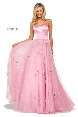 Sherri Hill 53744 prom dress images.  Sherri Hill 53744 is available in these colors: Light Blue, Dark Coral, Ivory, Yellow, Rose, Lilac, Black.