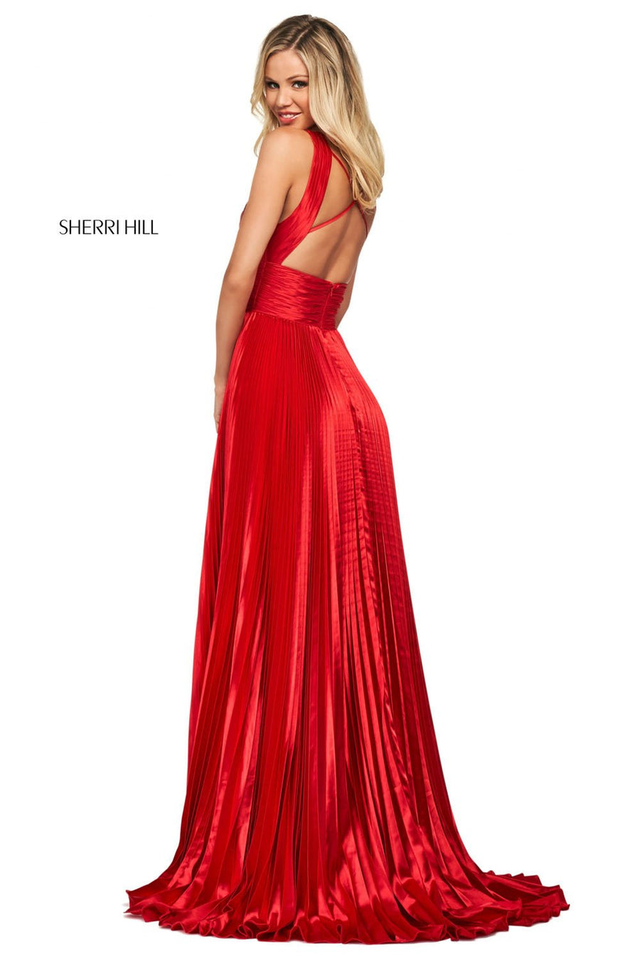 Sherri Hill 53762 prom dress images.  Sherri Hill 53762 is available in these colors: Black, Emerald, Red, Rose, Ivory, Royal.