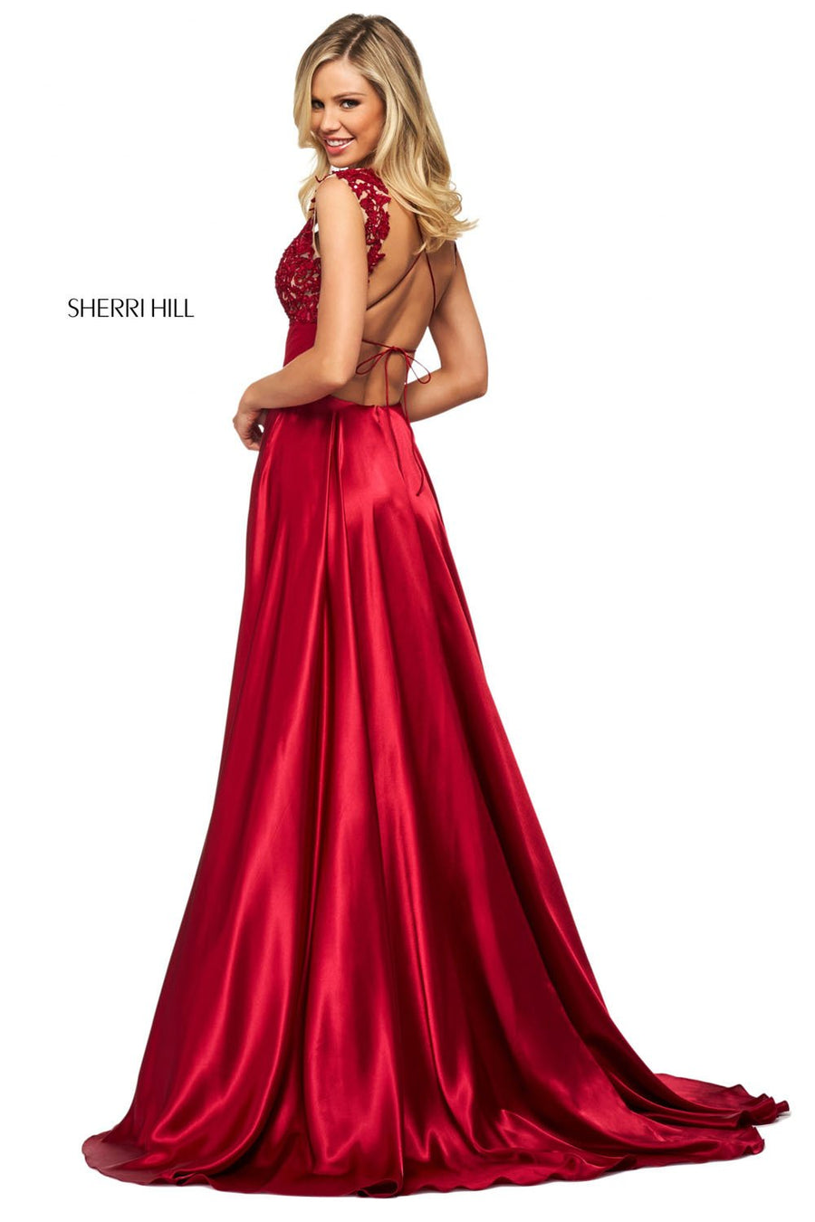 Sherri Hill 53764 prom dress images.  Sherri Hill 53764 is available in these colors: Royal, Red, Blush, Ruby, Black, Navy.