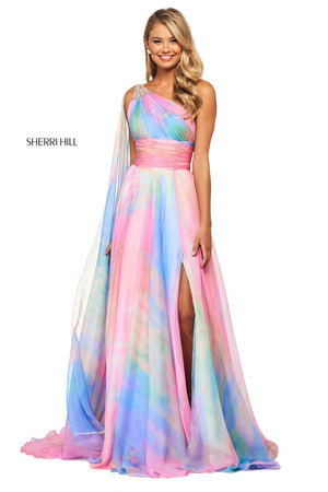 Sherri Hill 53768 prom dress images.  Sherri Hill 53768 is available in these colors: Multi Print.