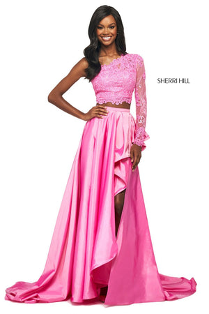 Sherri Hill 53771 prom dress images.  Sherri Hill 53771 is available in these colors: Red, Candy Pink, Yellow, Light Blue, Ivory, Aqua, Coral, Black.