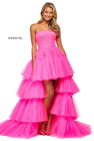 Sherri Hill 53776 prom dress images.  Sherri Hill 53776 is available in these colors: Bright Pink, Black.