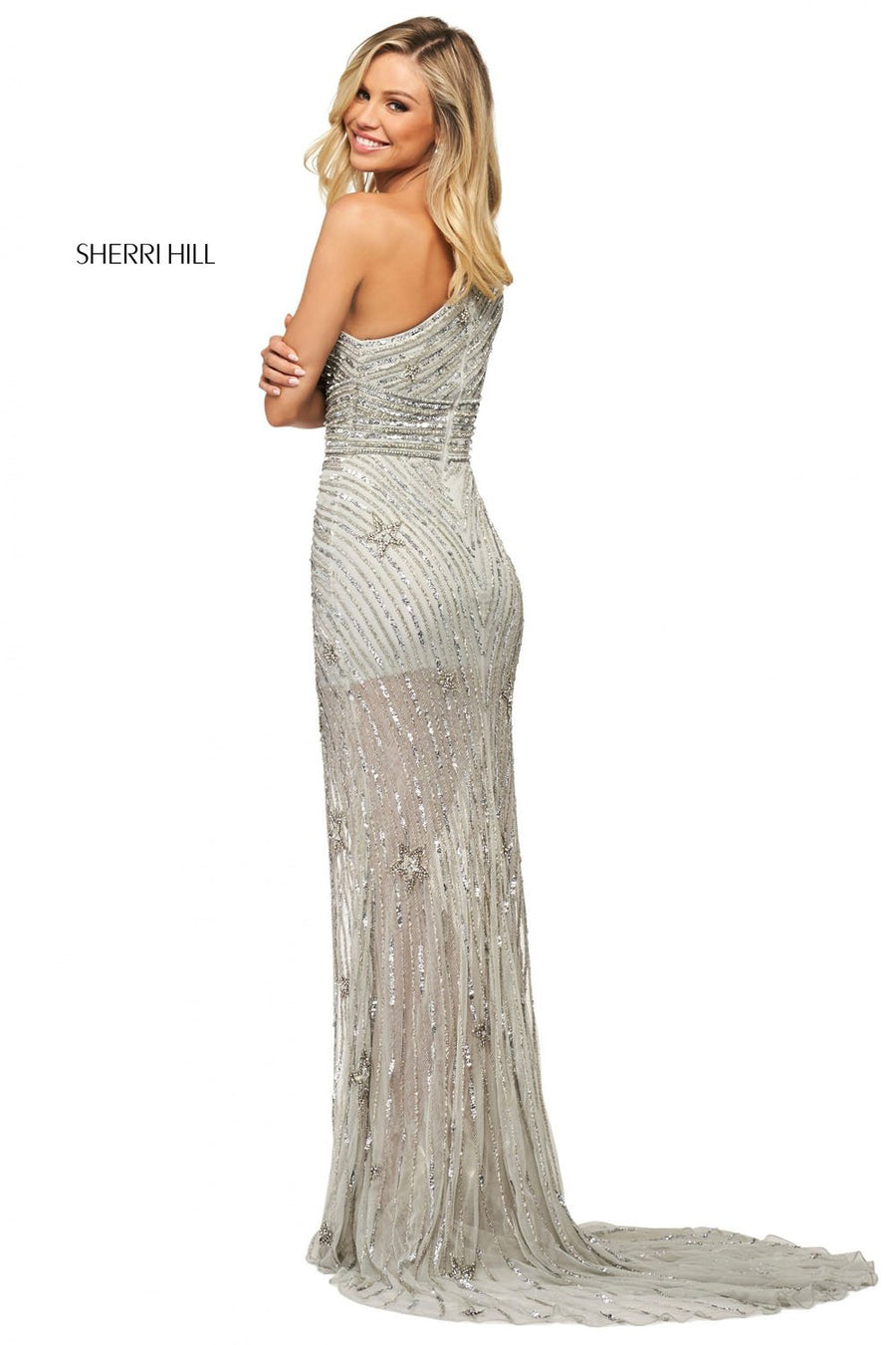 Sherri Hill 53784 prom dress images.  Sherri Hill 53784 is available in these colors: Silver, Gold Silver, Light Blue Silver.