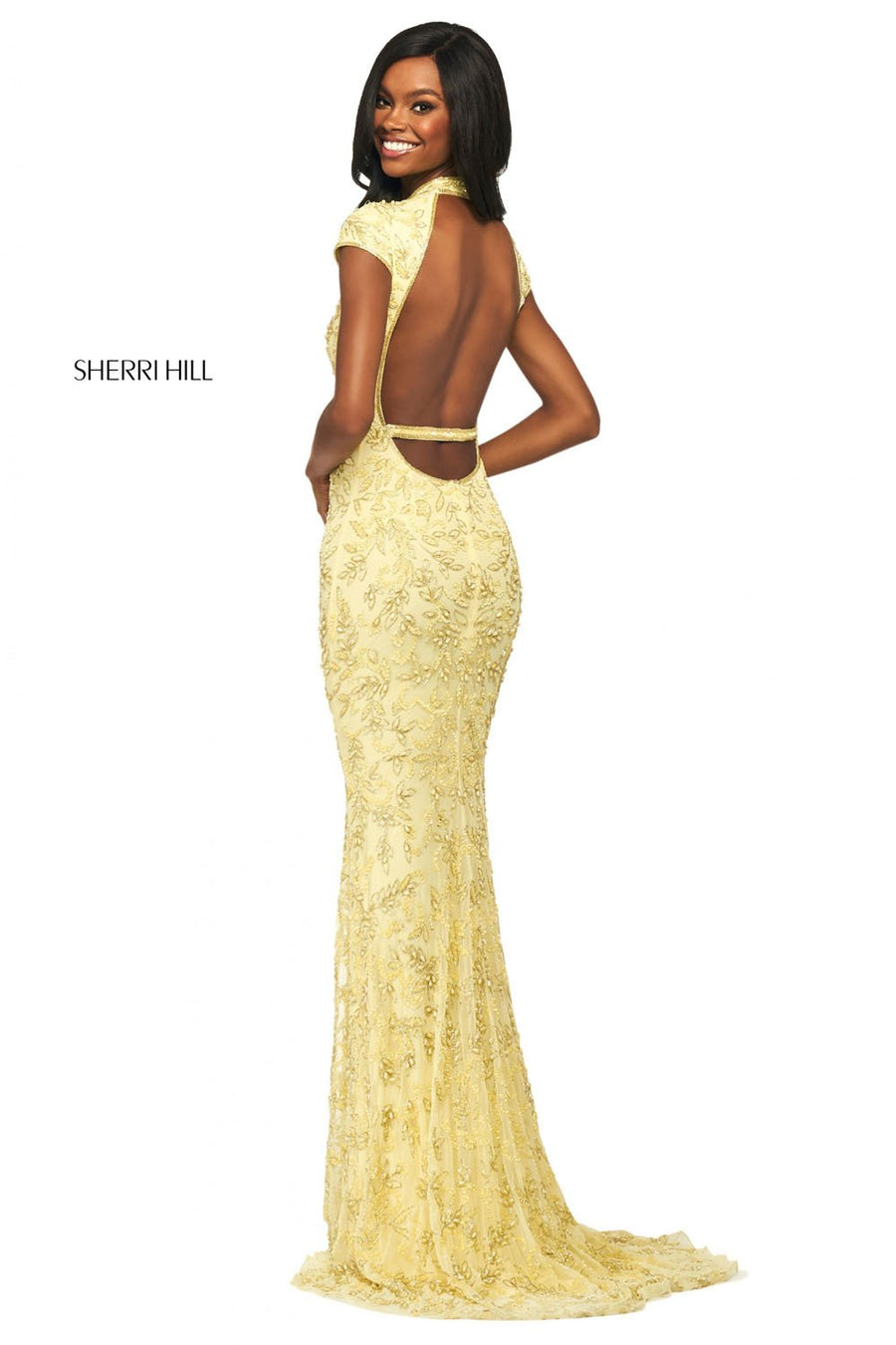Sherri Hill 53793 prom dress images.  Sherri Hill 53793 is available in these colors: Blush, Yellow.