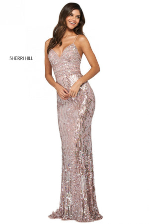 Sherri Hill 53795 prom dress images.  Sherri Hill 53795 is available in these colors: Ivory Silver, Gold, Silver, Burgundy, Black, Rose Gold.