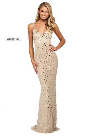 Sherri Hill 53813 prom dress images.  Sherri Hill 53813 is available in these colors: Nude Silver.