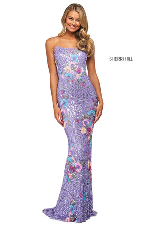 Sherri Hill 53816 prom dress images.  Sherri Hill 53816 is available in these colors: Lilac Multi.