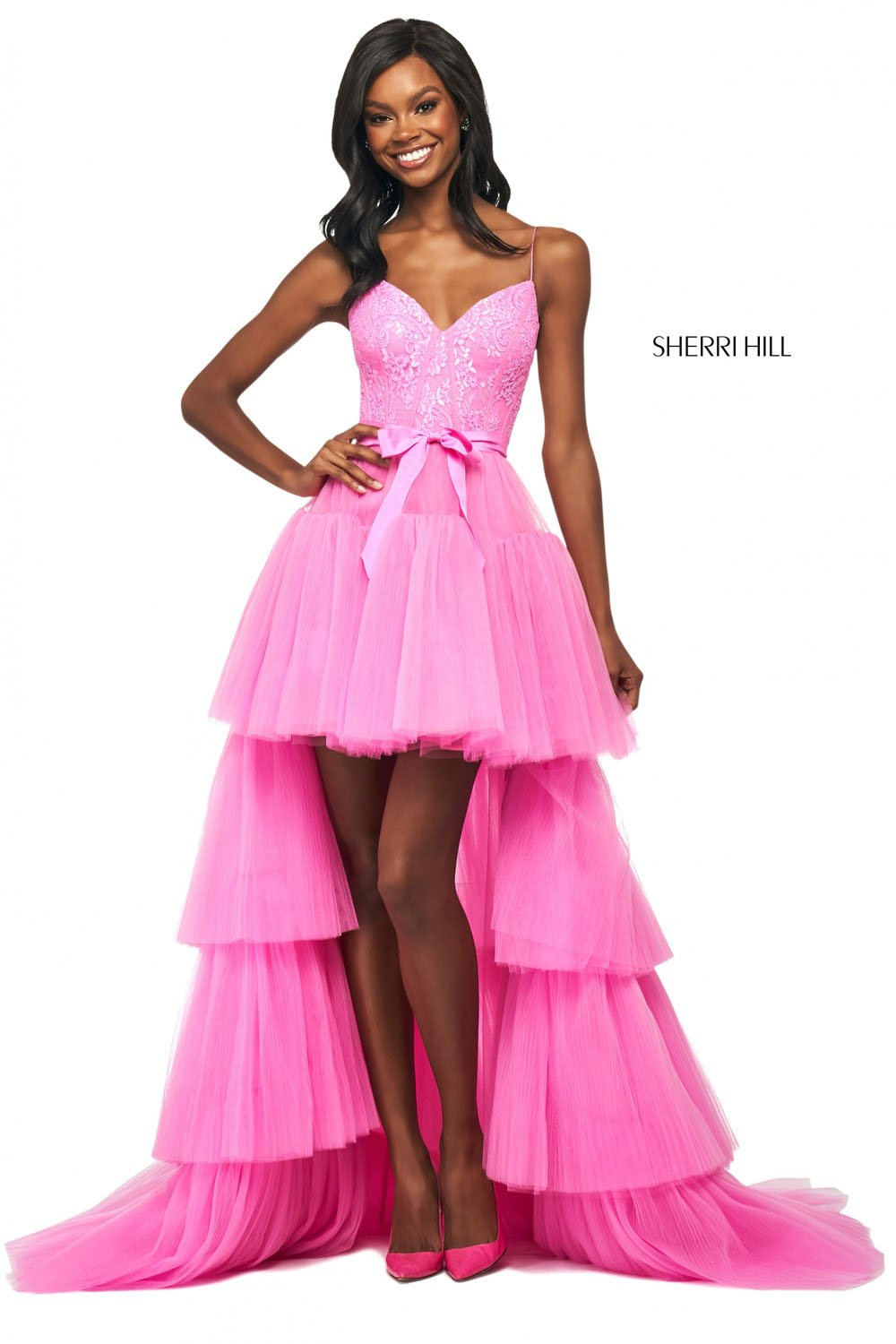 Sherri Hill 53820 prom dress images.  Sherri Hill 53820 is available in these colors: Candy Pink, Black.