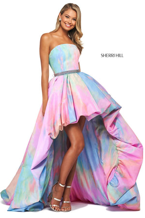 Sherri Hill 53821 prom dress images.  Sherri Hill 53821 is available in these colors: Multi Print.