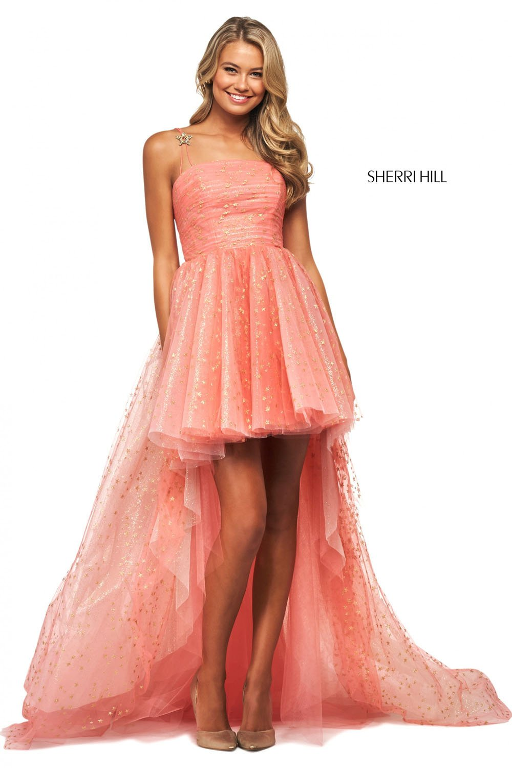 Sherri Hill 53825 prom dress images.  Sherri Hill 53825 is available in these colors: Black Gold, Coral Gold, Light Blue Silver, Blush Gold, Ivory Gold.