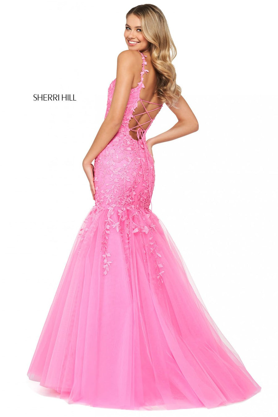 Sherri Hill 53826 prom dress images.  Sherri Hill 53826 is available in these colors: Blush, Lilac, Coral, Ivory Nude, Light Blue, Yellow, Bright Pink, Gold, Black, Red.