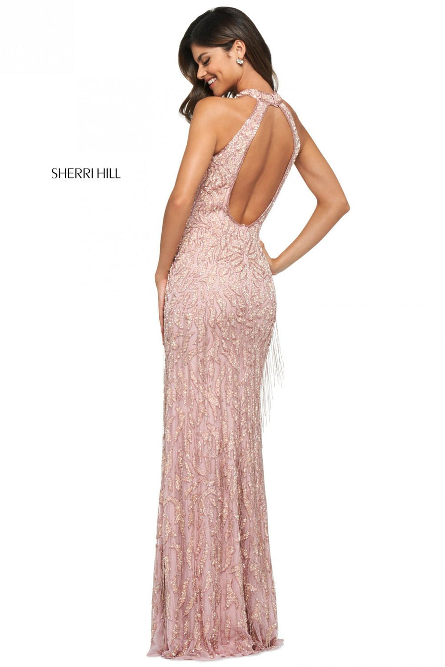 Sherri Hill 53882 prom dress images.  Sherri Hill 53882 is available in these colors: Light Pink, Burgundy, Black, Periwinkle.