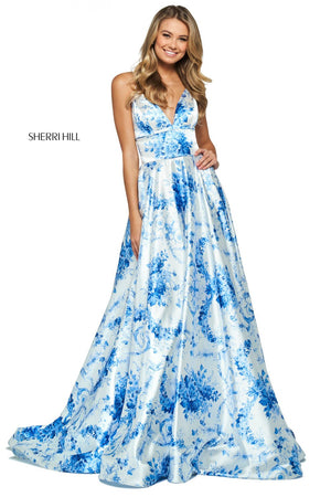 Sherri Hill 53886 prom dress images.  Sherri Hill 53886 is available in these colors: Ivory Blue Print.