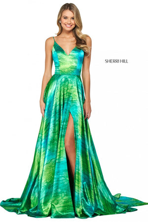 Sherri Hill 53889 prom dress images.  Sherri Hill 53889 is available in these colors: Green Print.