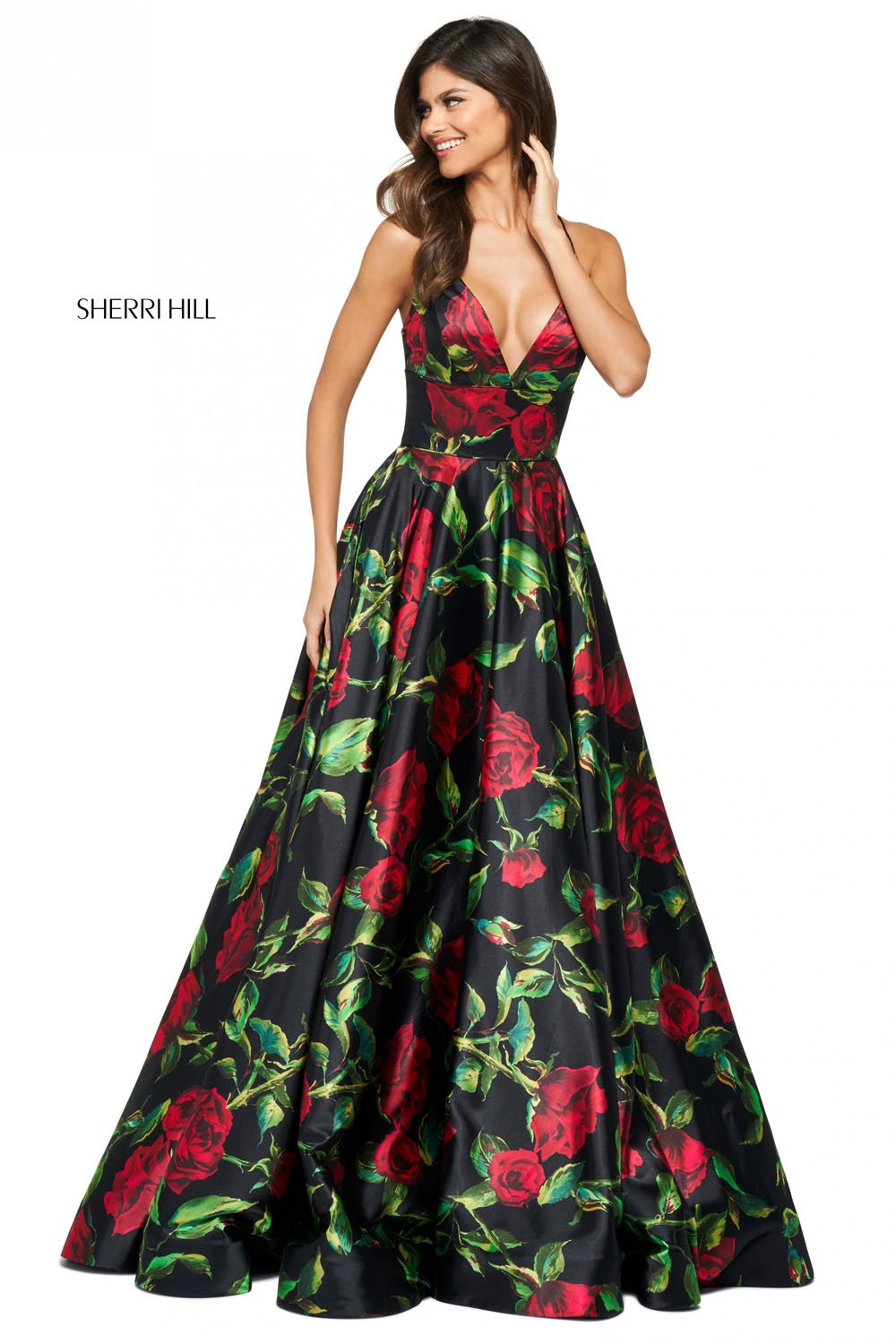 Sherri Hill 53896 prom dress images.  Sherri Hill 53896 is available in these colors: Black Red Print.