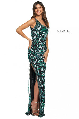 Sherri Hill 53898 prom dress images.  Sherri Hill 53898 is available in these colors: Black Blue Aqua.