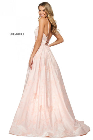 Sherri Hill 53900 prom dress images.  Sherri Hill 53900 is available in these colors: Pink, Yellow, Light Blue.