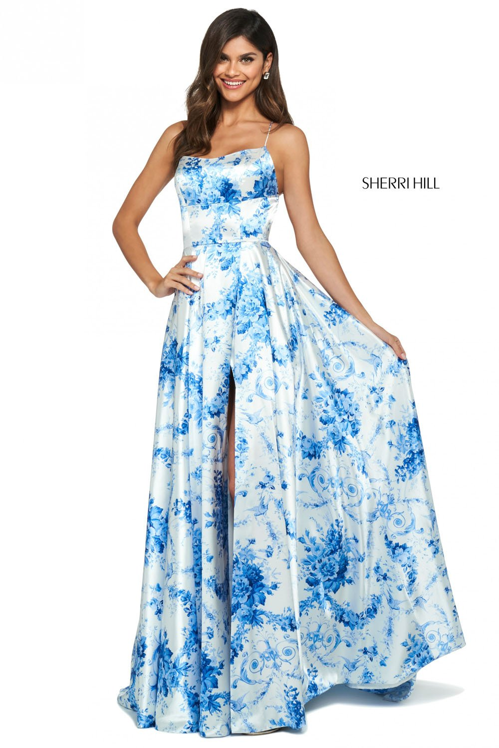 Sherri Hill 53902 prom dress images.  Sherri Hill 53902 is available in these colors: Ivory Blue Print.