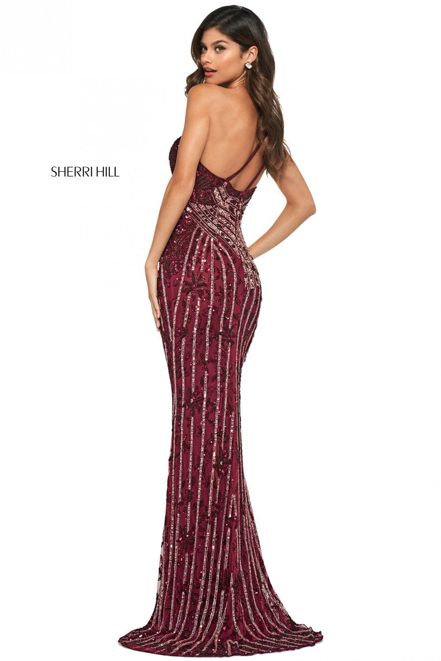 Sherri Hill 53913 prom dress images.  Sherri Hill 53913 is available in these colors: Burgundy Blush, Gold Blush, Light Gold Light Blue, Teal Multi.