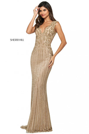 Sherri Hill 53915 prom dress images.  Sherri Hill 53915 is available in these colors: Nude Gold, Ivory Silver.