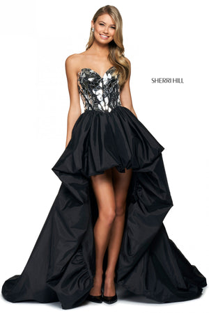 Sherri Hill 54023 prom dress images.  Sherri Hill 54023 is available in these colors: Black Multi, Red, Black Silver.