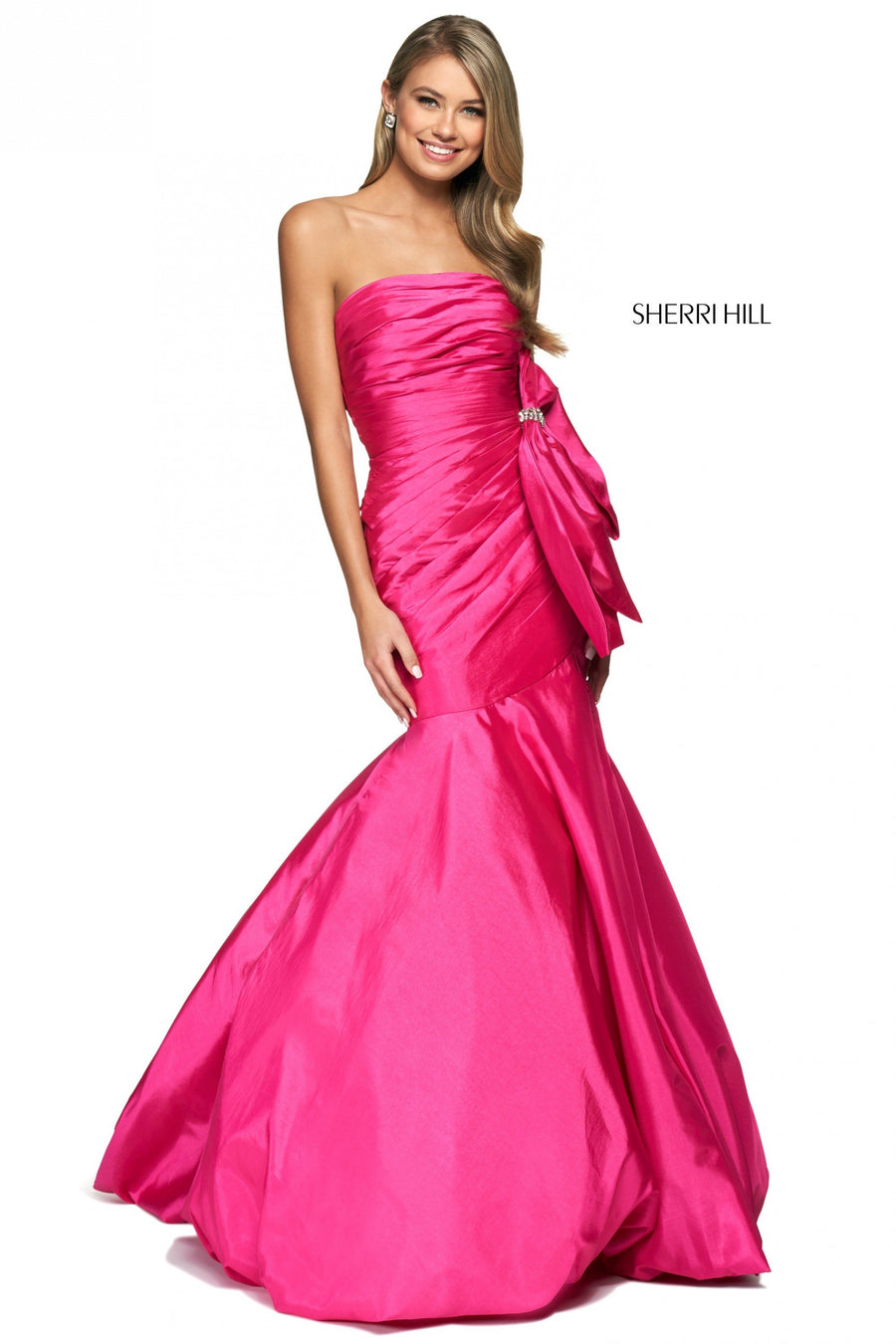 Sherri Hill 54027 prom dress images.  Sherri Hill 54027 is available in these colors: Black, Teal, Emerald, Bright Pink, Red.