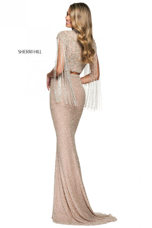 Sherri Hill 54057 prom dress images.  Sherri Hill 54057 is available in these colors: Nude Silver.