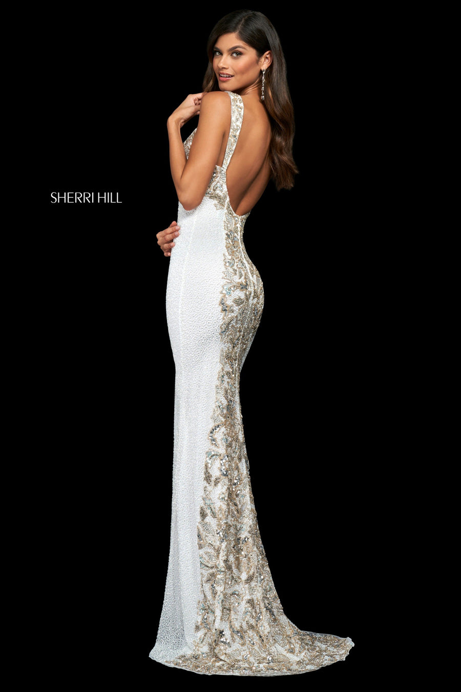 Sherri Hill 54119 prom dress images.  Sherri Hill 54119 is available in these colors: Black Silver Gold, Ivory Silver Gold.