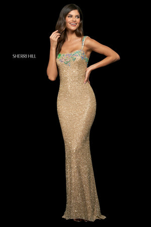 Sherri Hill 54129 prom dress images.  Sherri Hill 54129 is available in these colors: Gold Multi.