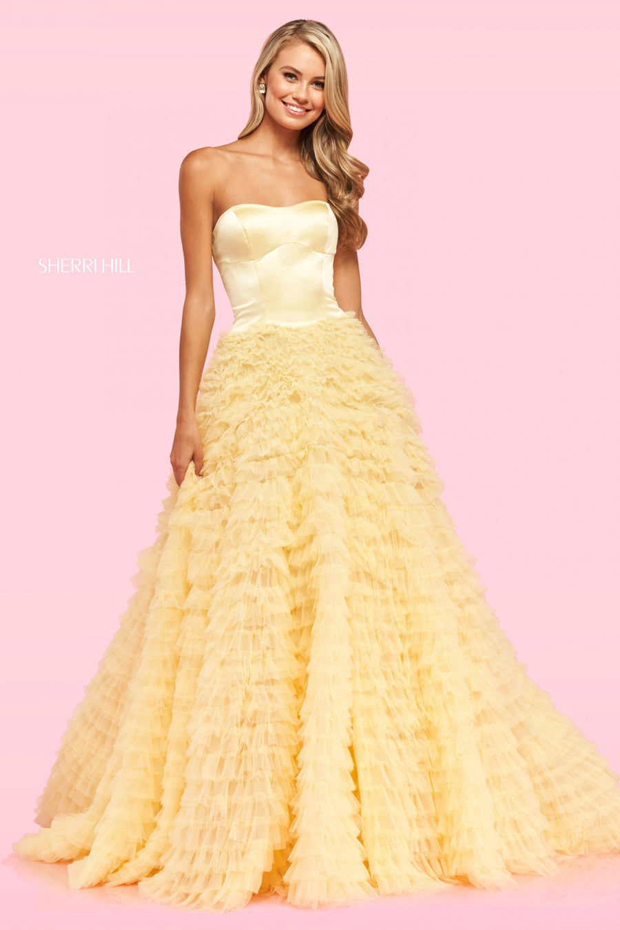 Sherri Hill 54147 prom dress images.  Sherri Hill 54147 is available in these colors: Red, Light Blue, Ivory, Yellow, Blush.