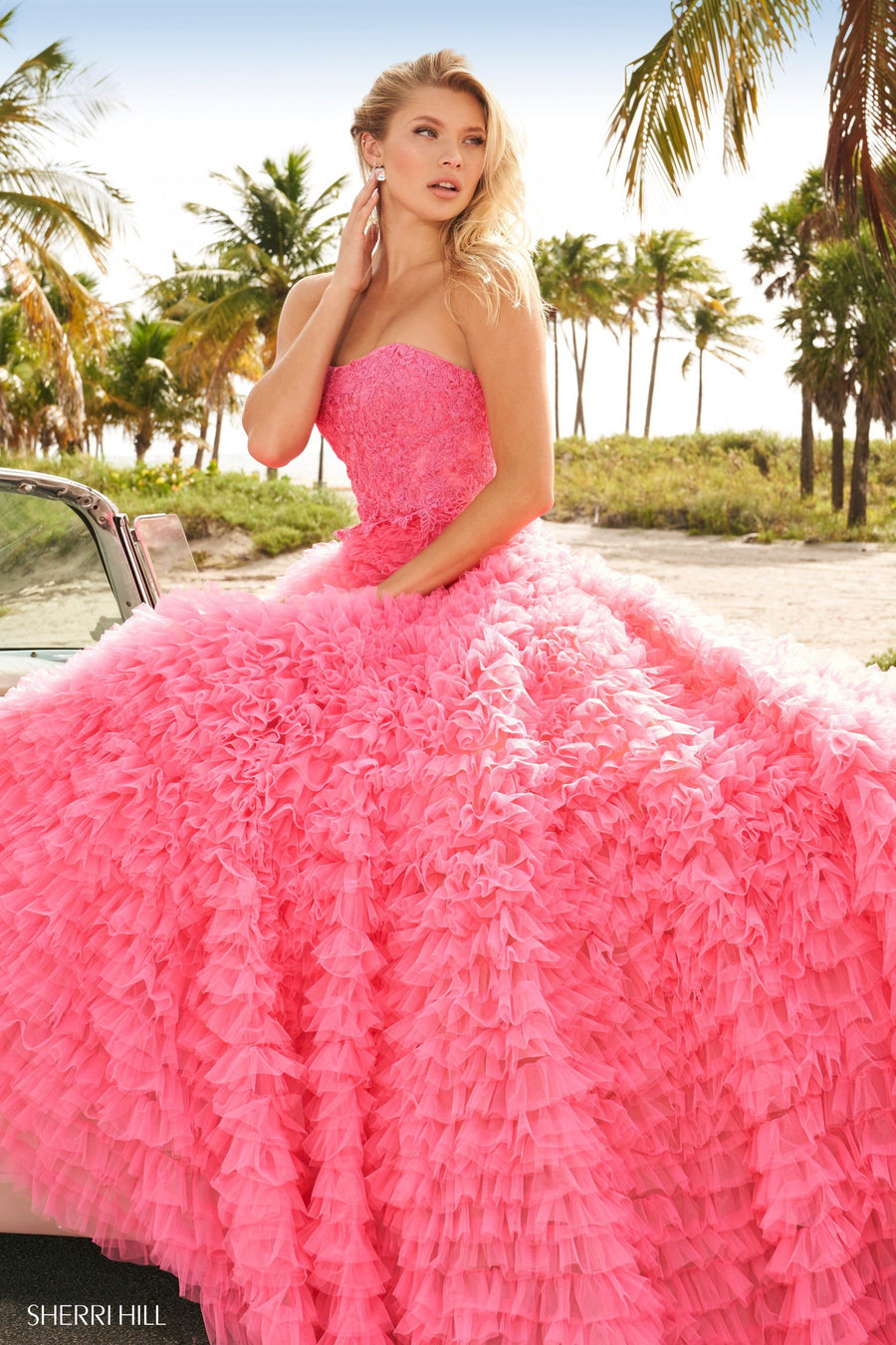 Sherri Hill 54148 prom dress images.  Sherri Hill 54148 is available in these colors: Candy Pink, Ivory, Black, Periwinkle, Red.