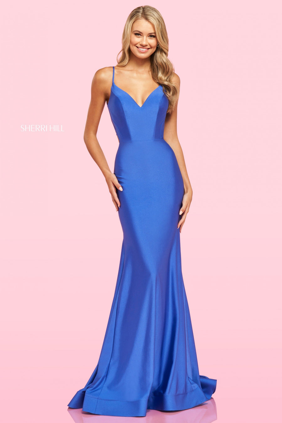 Sherri Hill 54179 prom dress images.  Sherri Hill 54179 is available in these colors: Light Blue, Red, Black, Emerald, Bright Pink, Navy, Wine, Dark Periwinkle, Dark Coral.
