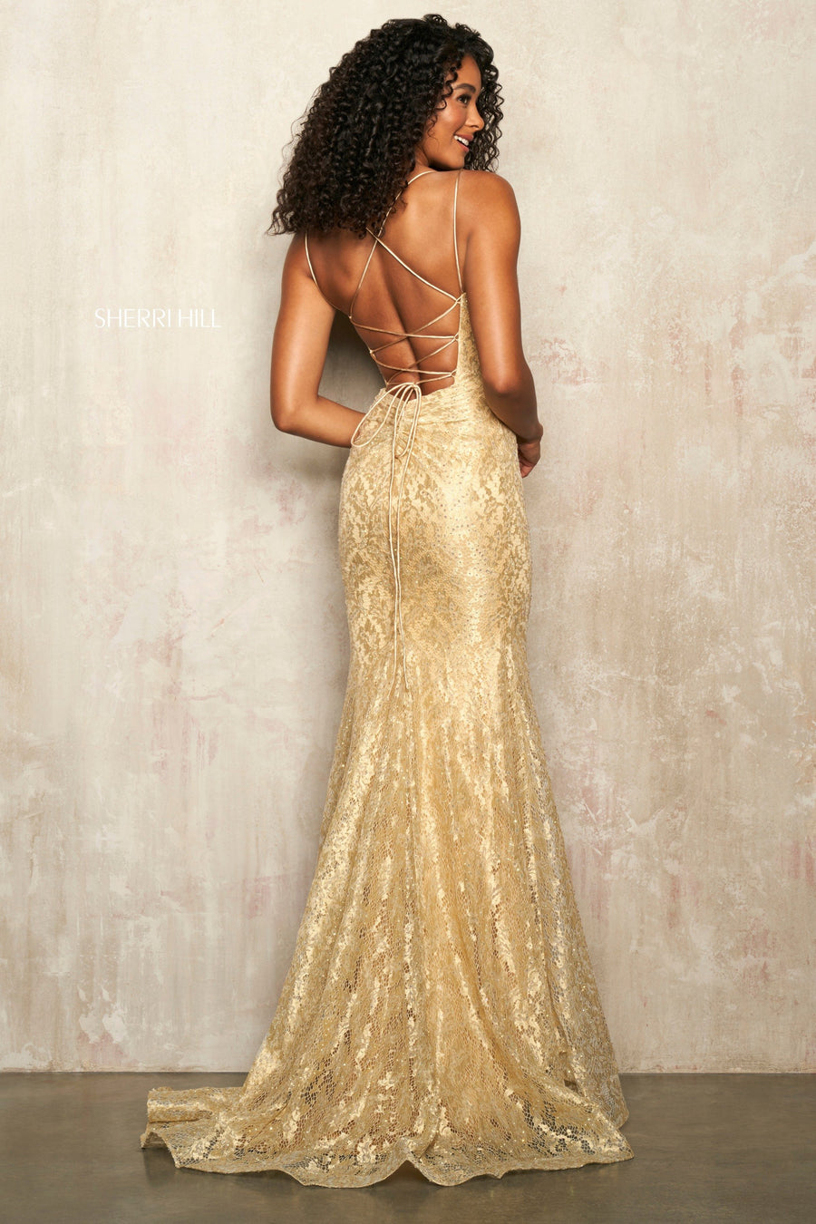 Sherri Hill 54188 prom dress images.  Sherri Hill 54188 is available in these colors: Gold.
