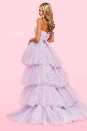 Sherri Hill 54222 prom dress images.  Sherri Hill 54222 is available in these colors: Lilac, Black, Blush, Light Blue.
