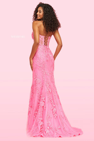 Sherri Hill 54227 prom dress images.  Sherri Hill 54227 is available in these colors: Ivory, Periwinkle, Black, Red, Bright Pink, Light Blue.