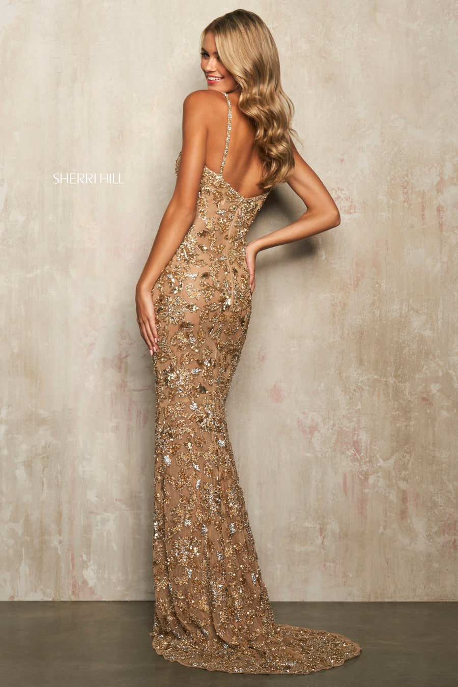 Sherri Hill 54255 prom dress images.  Sherri Hill 54255 is available in these colors: Nude Gold Silver.
