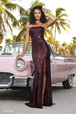 Sherri Hill 54259 prom dress images.  Sherri Hill 54259 is available in these colors: Fuchsia, Wine, Emerald, Purple, Red, Royal.