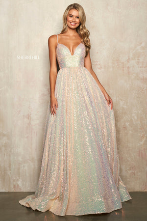 Sherri Hill 54261 prom dress images.  Sherri Hill 54261 is available in these colors: Champagne, Coral, Black Multi, Navy Multi.