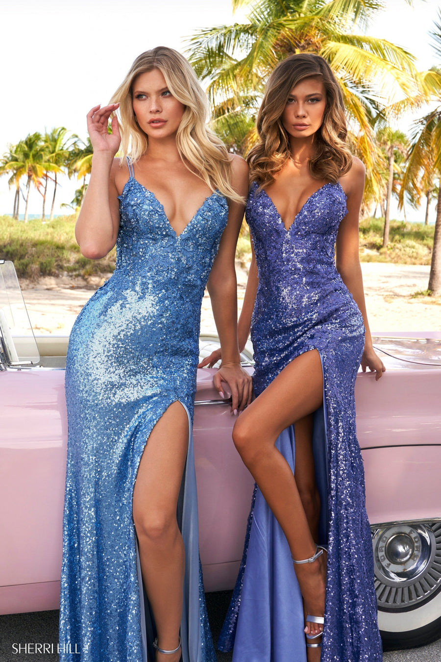 Sherri Hill 54264 prom dress images.  Sherri Hill 54264 is available in these colors: Ivory, Black, Red, Light Blue, Navy, Periwinkle, Vintage Blue.