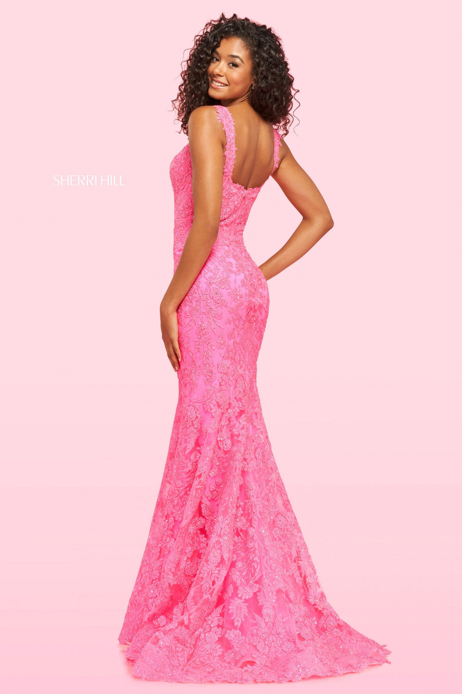 Sherri Hill 54267 prom dress images.  Sherri Hill 54267 is available in these colors: Bright Pink, Lilac, Red, Black.