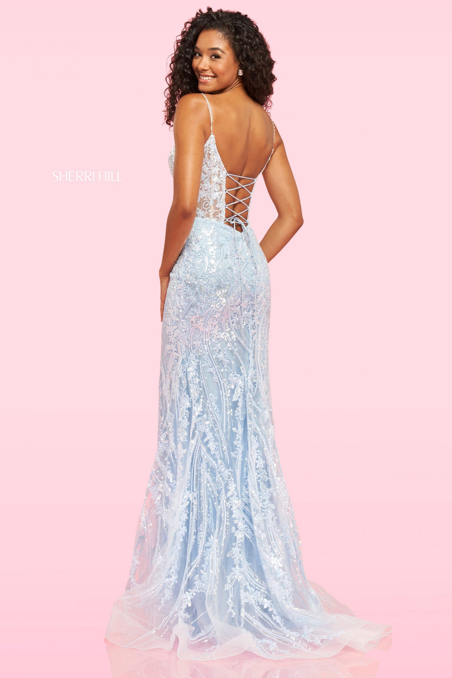 Sherri Hill 54275 prom dress images.  Sherri Hill 54275 is available in these colors: Light Blue.