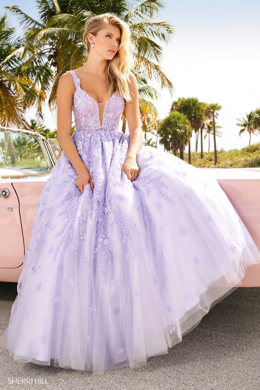 Sherri Hill 54276 prom dress images.  Sherri Hill 54276 is available in these colors: Lilac, Ivory.