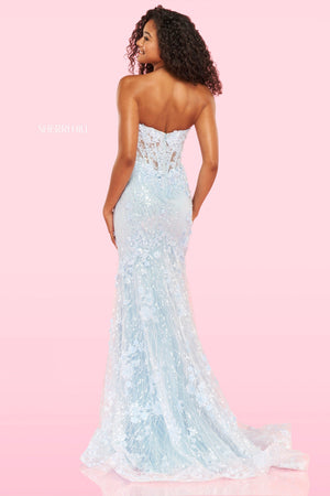 Sherri Hill 54278 prom dress images.  Sherri Hill 54278 is available in these colors: Light Blue, Ivory, Red.