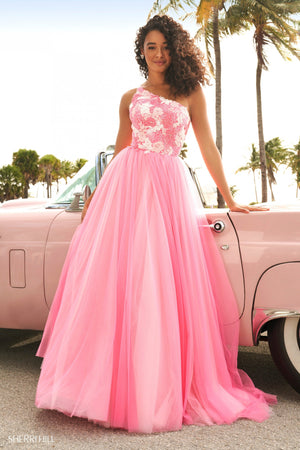 Sherri Hill 54285 prom dress images.  Sherri Hill 54285 is available in these colors: Blue Ivory, Pink Ivory.