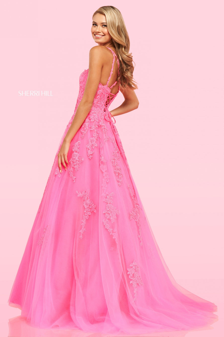 Sherri Hill 54295 prom dress images.  Sherri Hill 54295 is available in these colors: Red, Purple, Bright Pink, Ivory, Black.